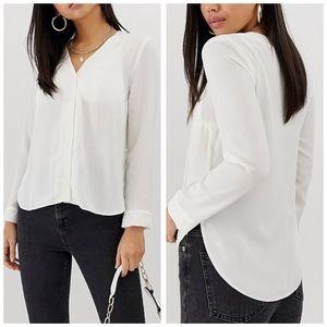 NWT ASOS white v-neck blouse